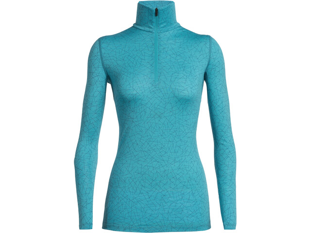Icebreaker 200 Oasis Sky Paths LS Half Zip Shirt Dame Arctic Teal